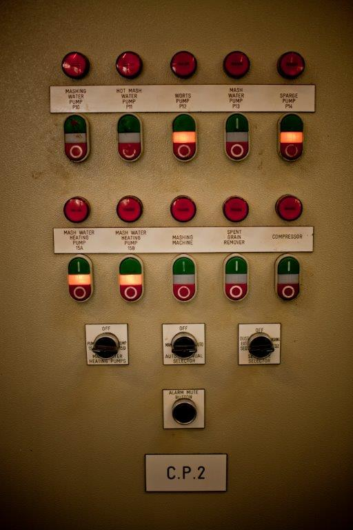 The control panel from the mash tun at the Arran distillery.