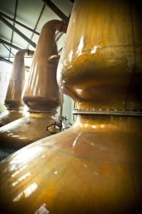 The tall lantern stills at the Isle of Jura distillery