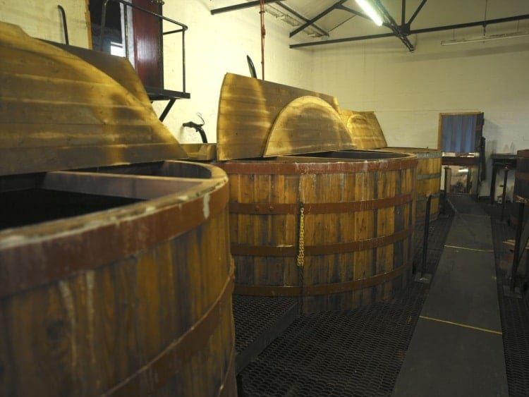 The washbacks at the Springbank distillery in Campbeltown