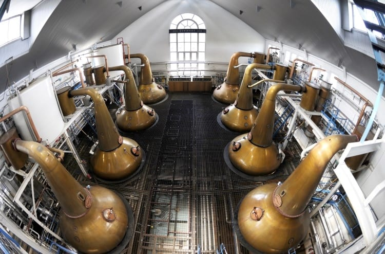 The stills at the Tormore distillery